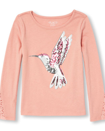 Girls Long Lace Sleeve Embellished Graphic Top