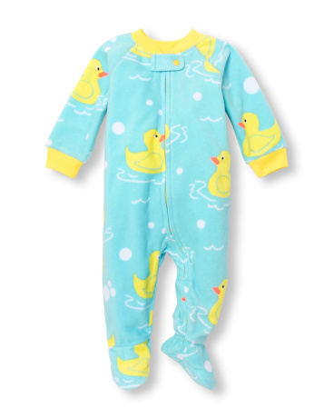 Baby And Toddler Girls Long Sleeve Rubber Ducky Printed Footed Blanket Sleeper