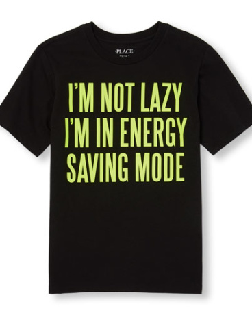 Boys Short Sleeve Neon 'I'm Not Lazy I'm In Energy Saving Mode' Graphic Tee