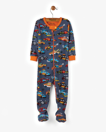 Monster Cars Organic Cotton Baby Footed Coverall