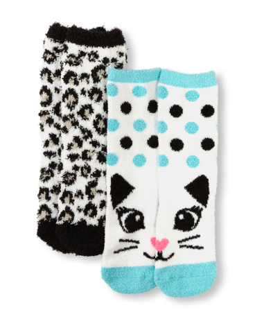 Girls Leopard Print And Cat Face Cozy Socks 2-Pack