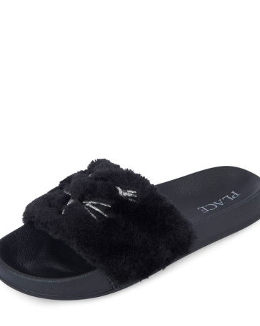 Girls Embroidered Faux Fur Slide Slipper
