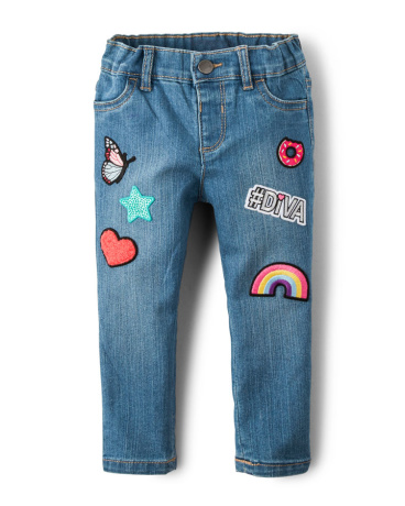 Toddler Girls Patch Skinny Jeans - Rain Wash