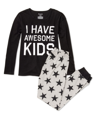 Womens Long Sleeve 'I Have Awesome Kids' Top And Star Print Pants PJ Set