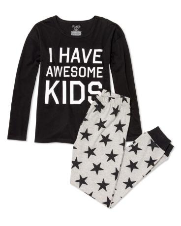 Womens Long Sleeve 'I Have Awesome Kids' Top And Star Print Pants PJ Set