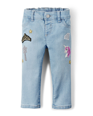 Toddler Girls Princess Patch Jeans - Vivi Wash