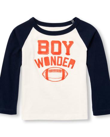 Toddler Boys Long Raglan Sleeve Graphic Top