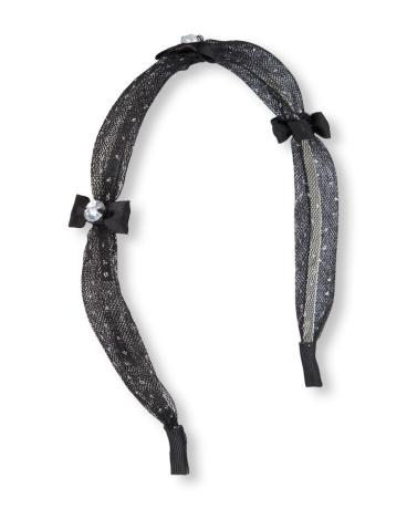 Girls Embellished Bow And Glitter Dot Mesh Headband