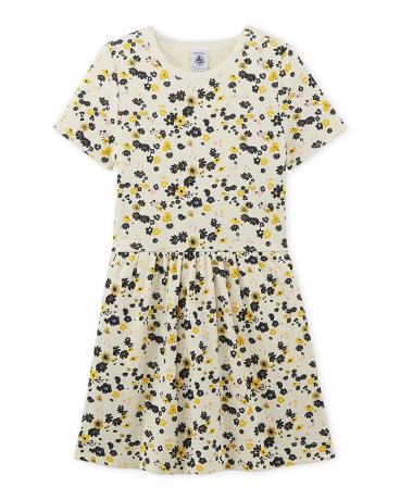 Girl's flower print double knit dress