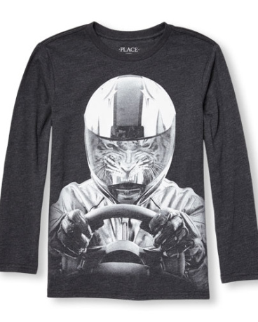 Boys Long Sleeve Tiger Racecar Driver Graphic Tee