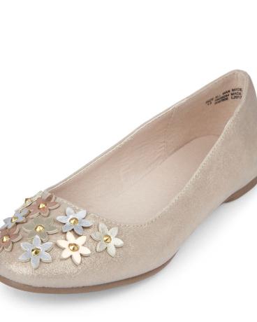 Girls Metallic Flower Sparkly Avery Ballet Flat