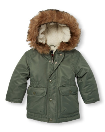 Toddler Boys Long Sleeve Faux Fur Hooded Parka
