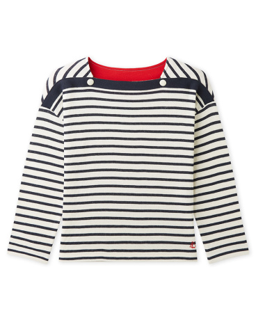 Girl's 3/4-sleeved tube knit t-shirt with stripes
