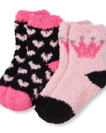 Toddler Girls Heart Print And Crown Cozy Socks 2-Pack