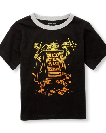 Toddler Boys Short Sleeve 'Snack Attack' Robo Vending Machine Graphic Tee