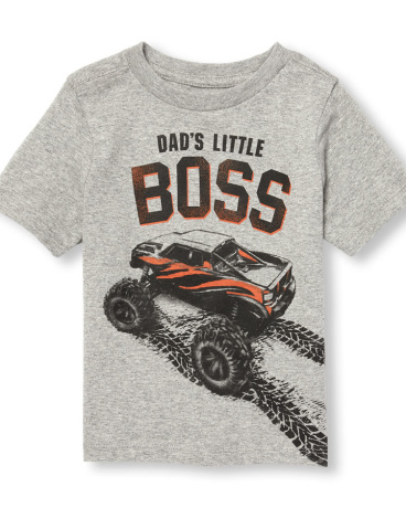 Toddler Boys Short Sleeve 'Dad's Little Boss' Monster Truck Graphic Tee