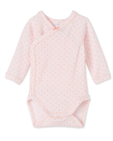 Newborn baby girls' long-sleeved bodysuit in wool and cotton
