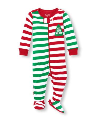 Unisex Baby And Toddler Long Sleeve 'Very Very Merry' Holiday Striped Stretchie