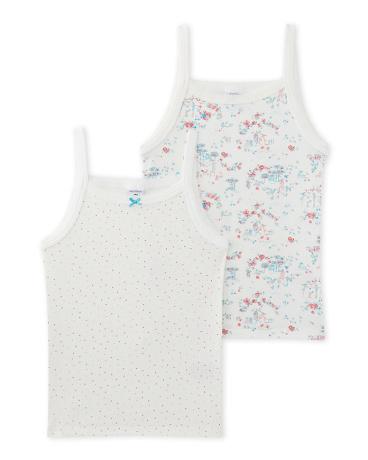 Set of 2 girl's printed and polka dot undershirts