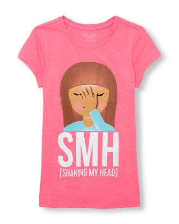 Girls Short Sleeve 'SMH (Shaking My Head)' Emoji Neon Graphic Tee