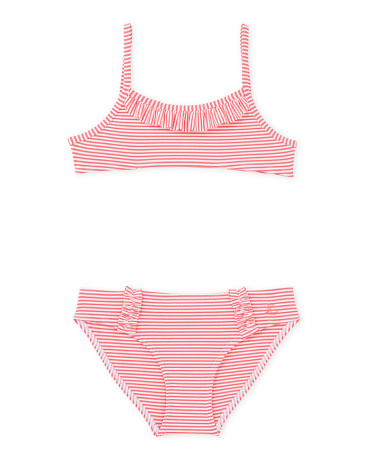 Girl's striped two-piece swimsuit