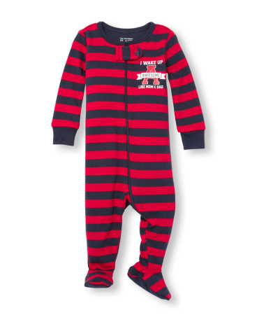 Baby And Toddler Boys Long Sleeve 'I Wake Up Awesome Like Mom And Dad' Striped Footed Stretchie