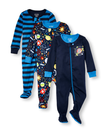 Baby And Toddler Boys Long Sleeve 'Center Of My Family's Universe' Solid Printed And Striped Stretchie 3-Pack