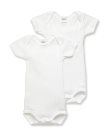 Pack of 2 unisex baby plain short-sleeve bodysuits