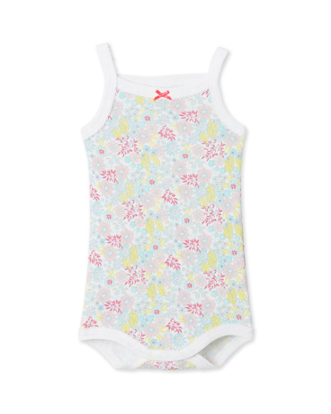 Baby girl printed bodysuit with straps