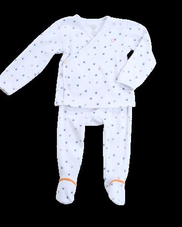 Blue Crown Jersey Kimono Set