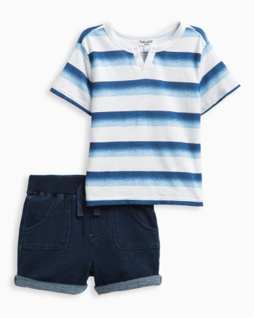 Baby Boy Ompre Striped Short Set