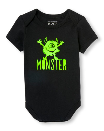 Baby Boys Daddy And Me Short Sleeve Neon 'Monster' Graphic Bodysuit