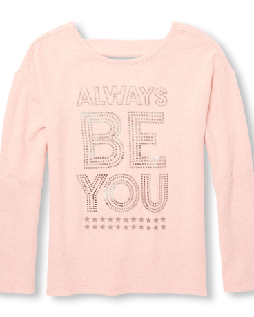 Girls Active Long Cutout Elbow Sleeve Embellished Cutout Back Graphic Top