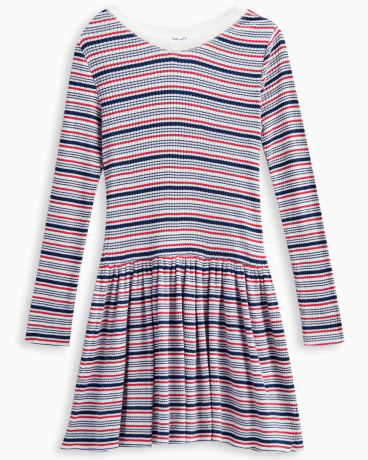 Girl Rib Stripe Sweater Dress
