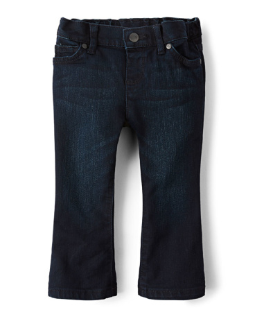 Baby And Toddler Girls Basic Bootcut Jeans - Dark Indigo Wash