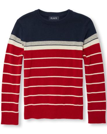 Boys Long Sleeve Engineer Striped Sweater