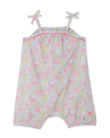 Baby girls' short printed coverall