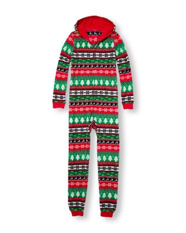 Unisex Adult Long Sleeve Holiday Fair Isle Print Hooded Glacier Fleece One-Piece Sleeper