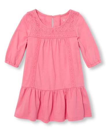 Toddler Girls Elbow Sleeve Lace Dress