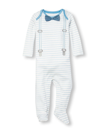 Baby Boys Layette Long Sleeve Bow Tie Dressy Striped Footed Coverall