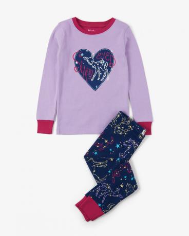 Celestial Night Appliqué Organic Cotton Pajama Set
