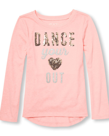 Girls Active Long Sleeve Embellished Graphic Hi-Low Top