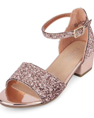 Girls Glitter Sandal Mini Heel