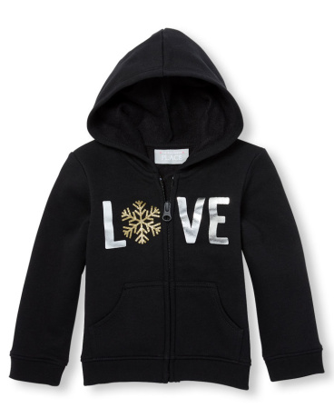 Toddler Girls Active Long Sleeve Glitter Graphic Full-Zip Hoodie
