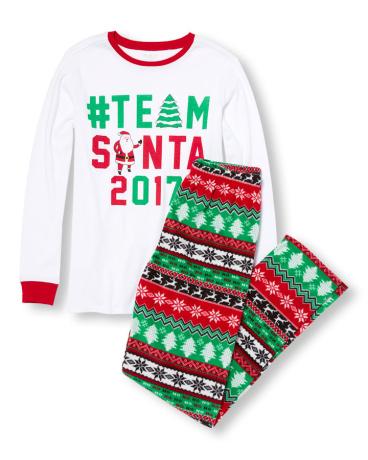 Unisex Adult Long Sleeve 'Team Santa 2017' Top And Holiday Fair Isle Print Pants Glacier Fleece Pants PJ Set