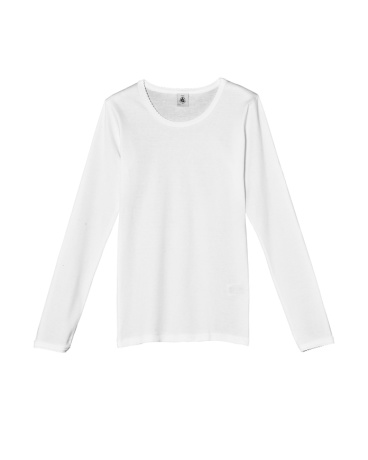Plain girl's long sleeve T-shirt with cocotte stitch finish