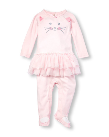 Baby Girls Layette Long Sleeve Embroidered Cat Tutu Footed Coverall