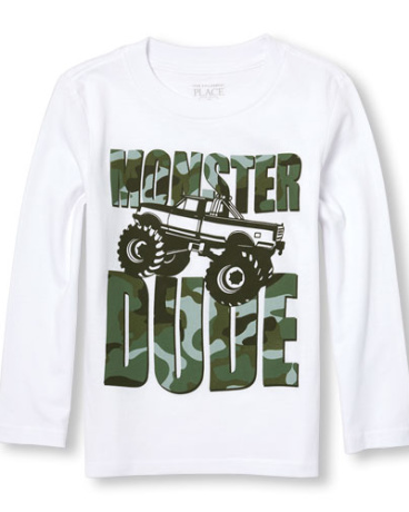 Toddler Boys Long Sleeve 'Monster Dude' Truck Graphic Tee