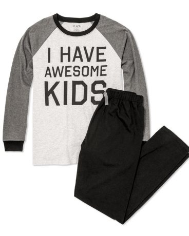 Mens Long Raglan Sleeve 'I Have Awesome Kids' Top And Pants PJ Set