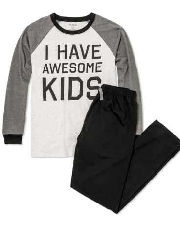 Mens Long Raglan Sleeve 'I Have Awesome Kids' Top And Pants PJ Set